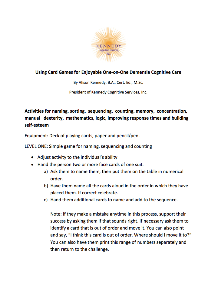 Using Card Games for Enjoyable One-on-One Dementia Cognitive Care