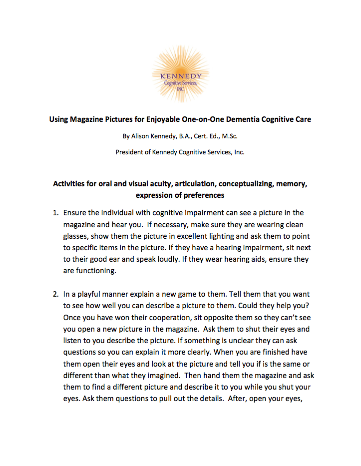 Using Magazine Pictures for Enjoyable One-on-One Dementia Cognitive Care