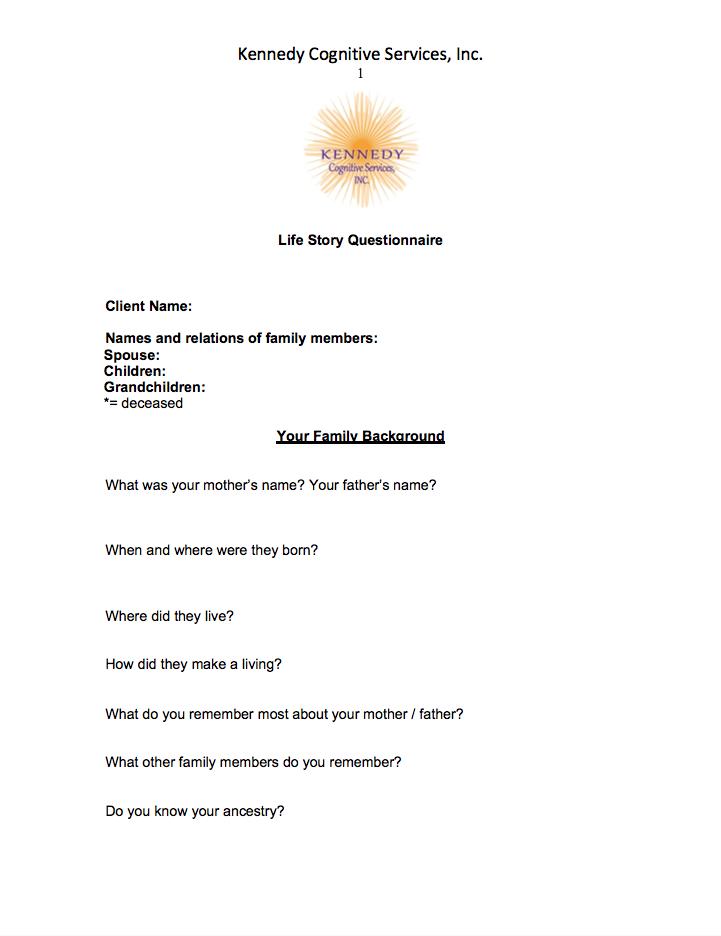 KCS Life Story Questionnaire